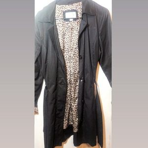 XHILARATION cheetah print wrap tie trench jacket